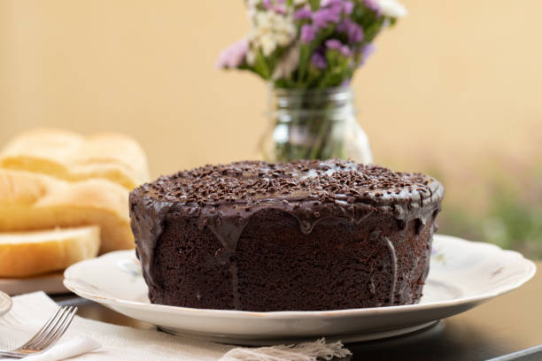 Delicious Brigadeiro/chocolate cake on breakfast table. Selective Focus. Delicious brigadeiro/ chocolate cake on breakfast table. Selective focus. theobroma stock pictures, royalty-free photos & images