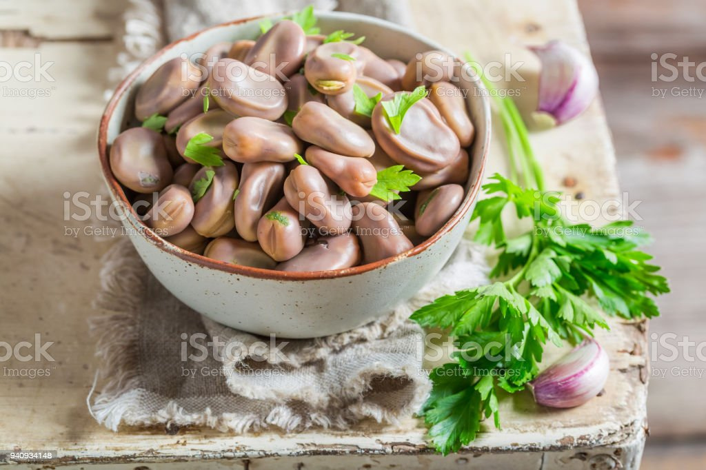 Delicious broad beans in old rustic kitchen stock photo