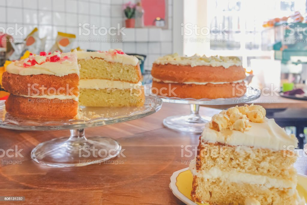 Delicious cake for sale in bakery shop stock photo