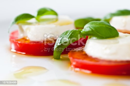 sliced tomato and mozzarella cheese, basil and olive oil for a delicious caprese salad. Yummie. See also this RELATED images: