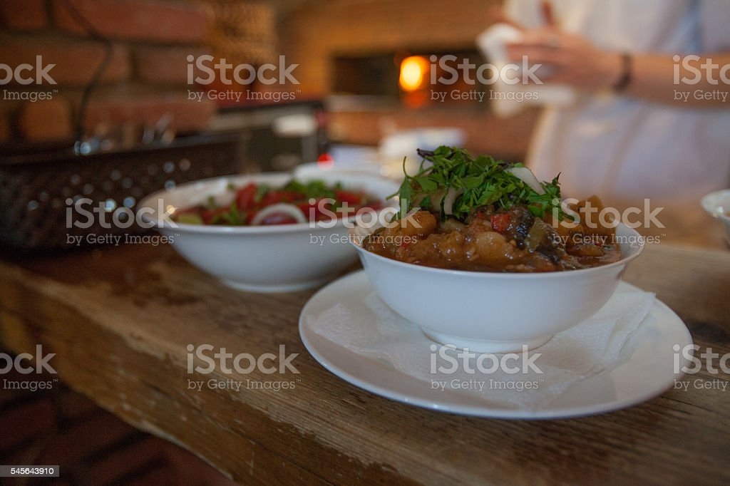 Delicious Caucasian meat stew stock photo