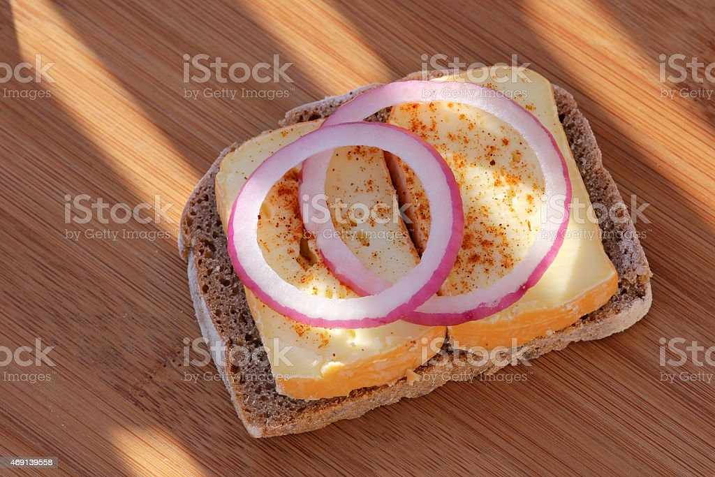 Delicious cheese bread with onion rings stock photo