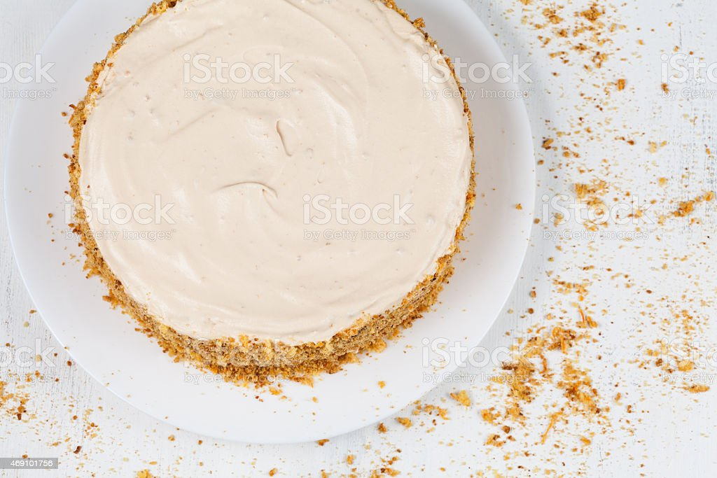 Delicious cheese cake with walnut and raisins on white background stock photo
