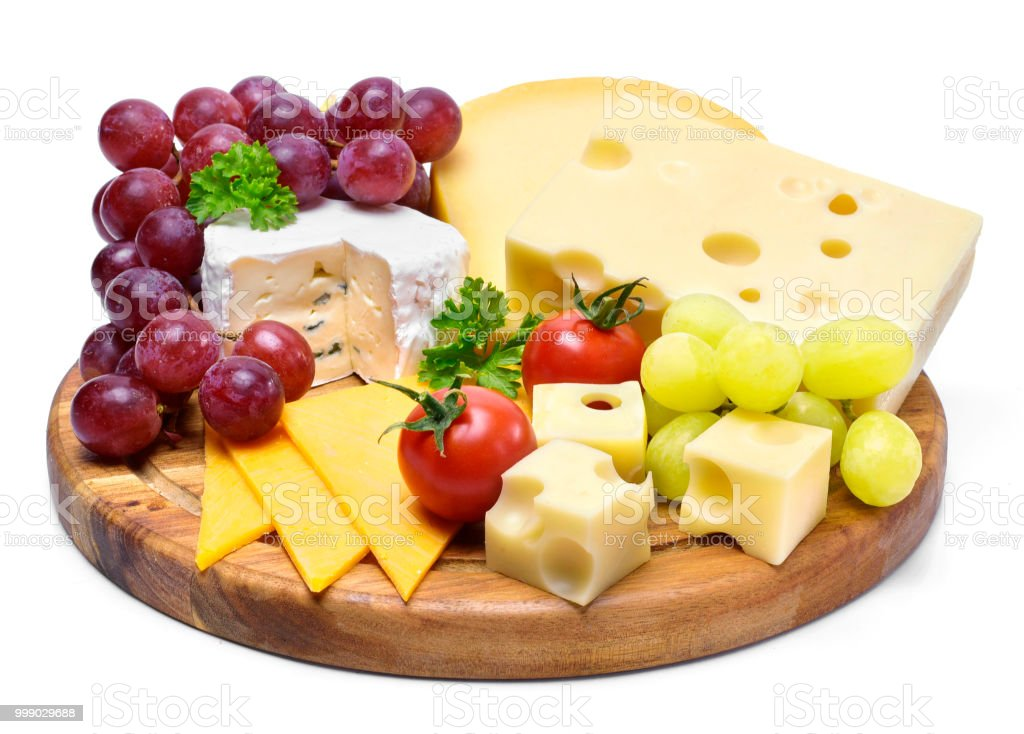 Delicious cheese plate with various sorts of cheese stock photo