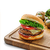 istock Delicious cheeseburger with baked potatoes 1162415876