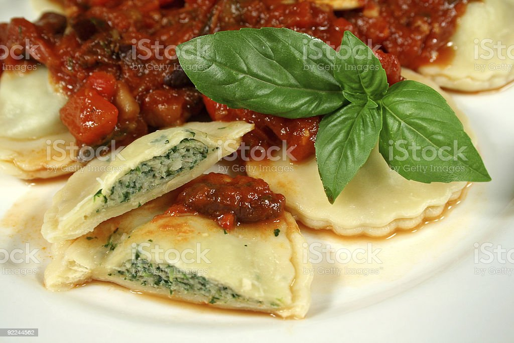 Delicious Chicken And Spinach Ravioli stock photo