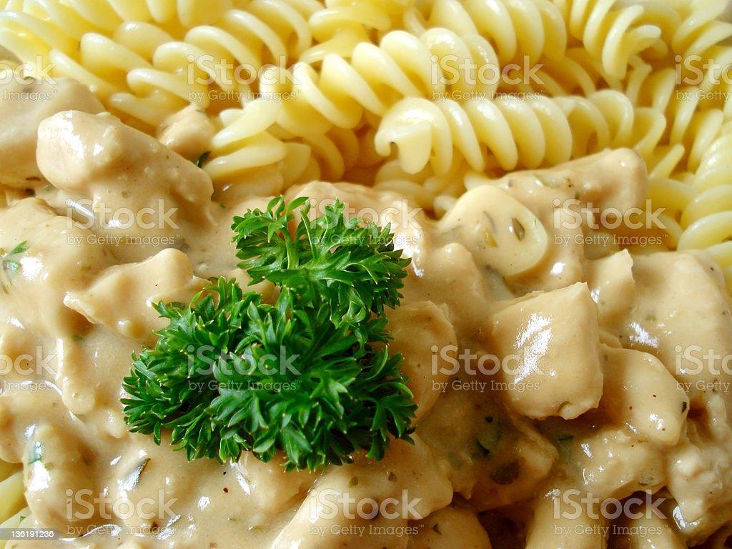 Delicious Chicken pasta (Fusilli) white sauce stock photo