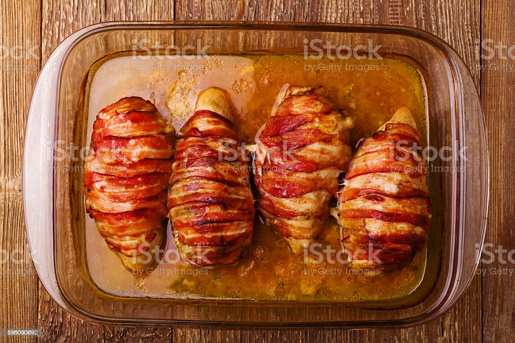 Delicious chicken rolls with dried tomatoes and mozzarella. royalty-free stock photo