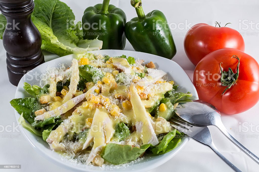 Delicious chicken salad in white plate with ingredients stock photo