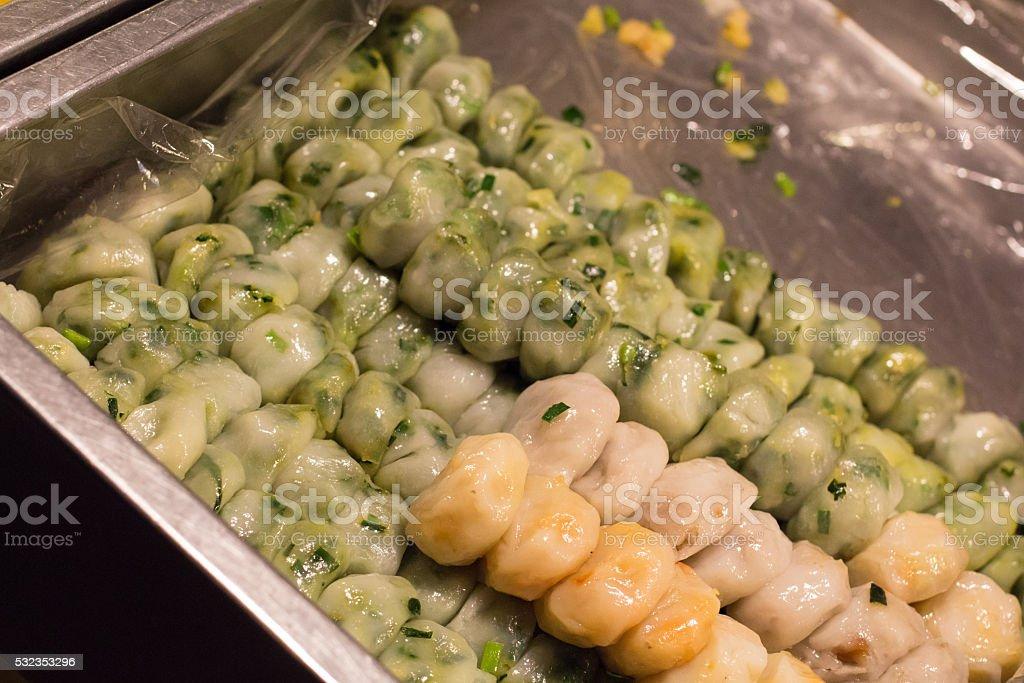 Вкусные Китайский пельмень шнитт-луком на пару Стоковые фото Стоковая фотография
