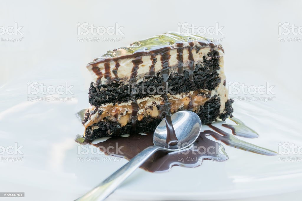 Delicious chocolate cake pie with peanuts stock photo