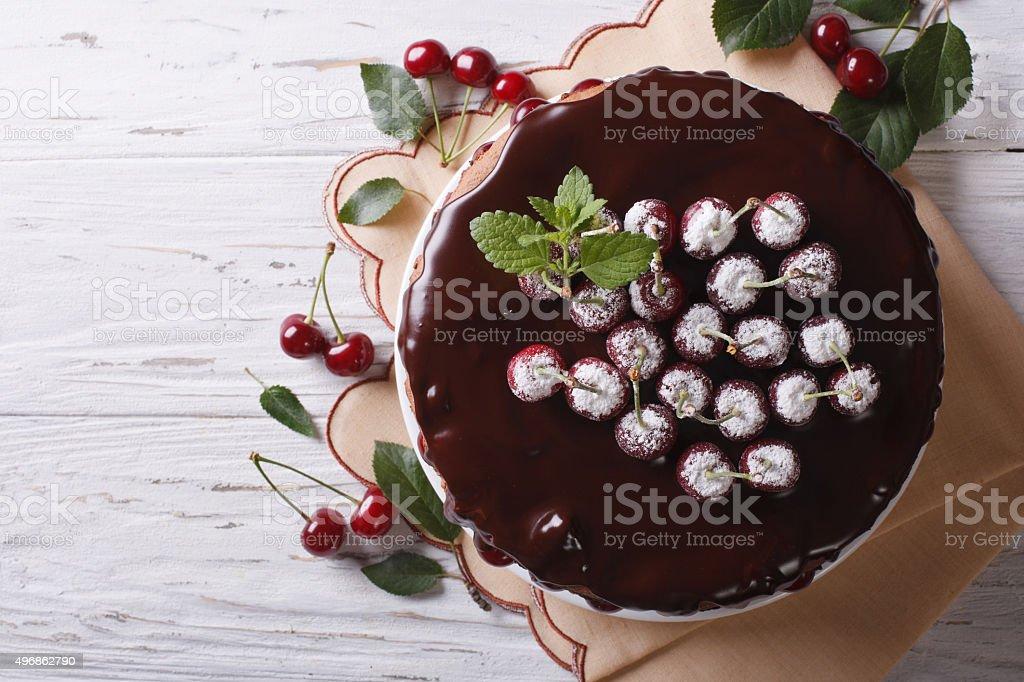 delicious chocolate cherry cake on the table. Horizontal top vie stock photo