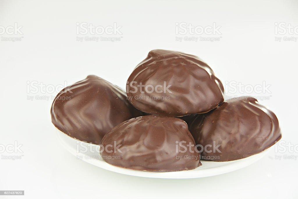 Delicious chocolate marshmallow on plate on white stock photo