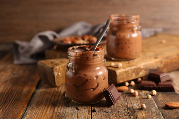 delicious chocolate mousse - chocolate mousse stock photos and pictures