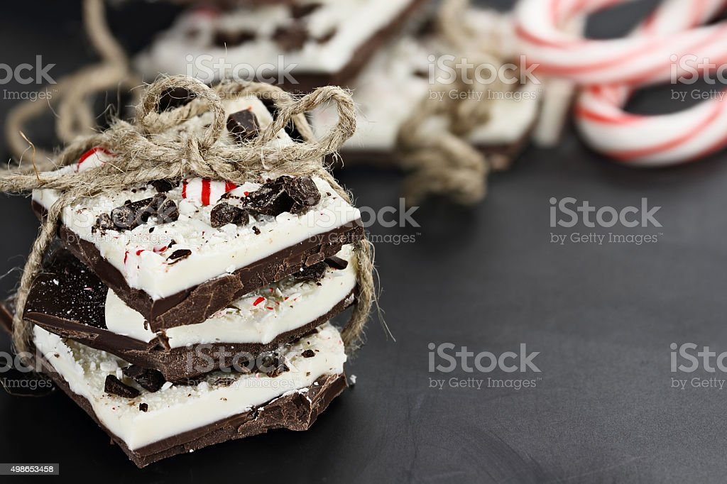 Delicious Chocolate Peppermint Bark stock photo