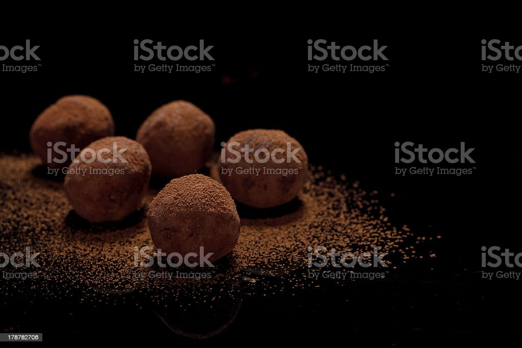 delicious chocolate truffles stock photo