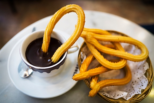 Delicious Churros And Hot Chocolate In Spain Stock Photo - Download Image Now