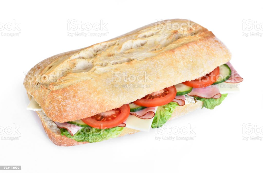 Delicious ciabatta sandwich with ham stock photo