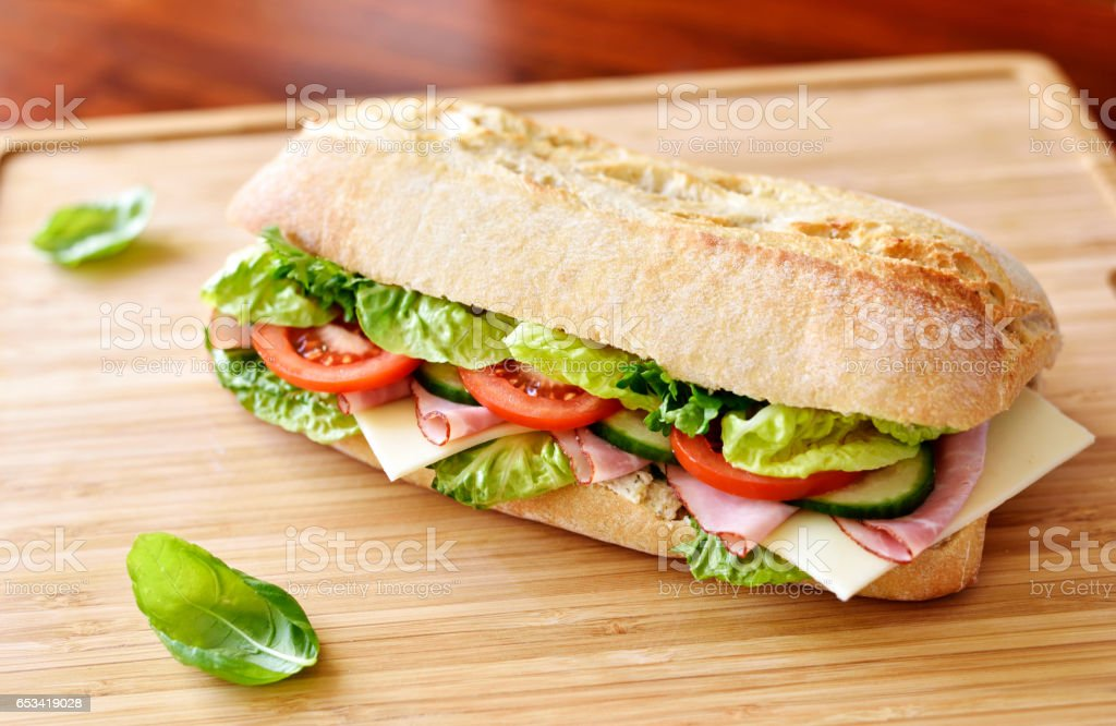 Delicious ciabatta sandwich with ham stock photo