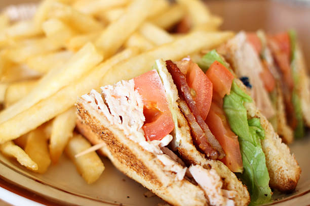 delicious club sandwich - club sandwich stock photos and pictures