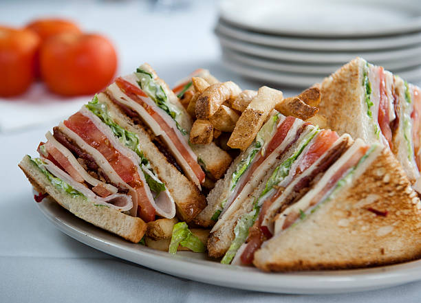 delicious club sandwich (click for more) - club sandwich stock photos and pictures