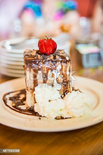 A yummy piece of coffee ice cream cake sits on a plate. There is chocolate sauce on the cake. There is whipped cream on plate and a strawberry on top. It's being served for dessert to people who are blurred in the background. Taken with Canon 5D Mark 3. rm