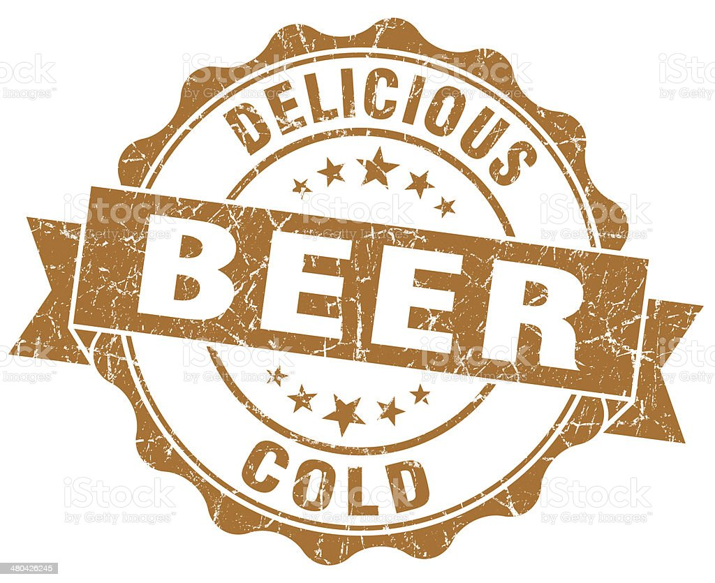 Delicious cold beer brown grunge vintage seal stock photo
