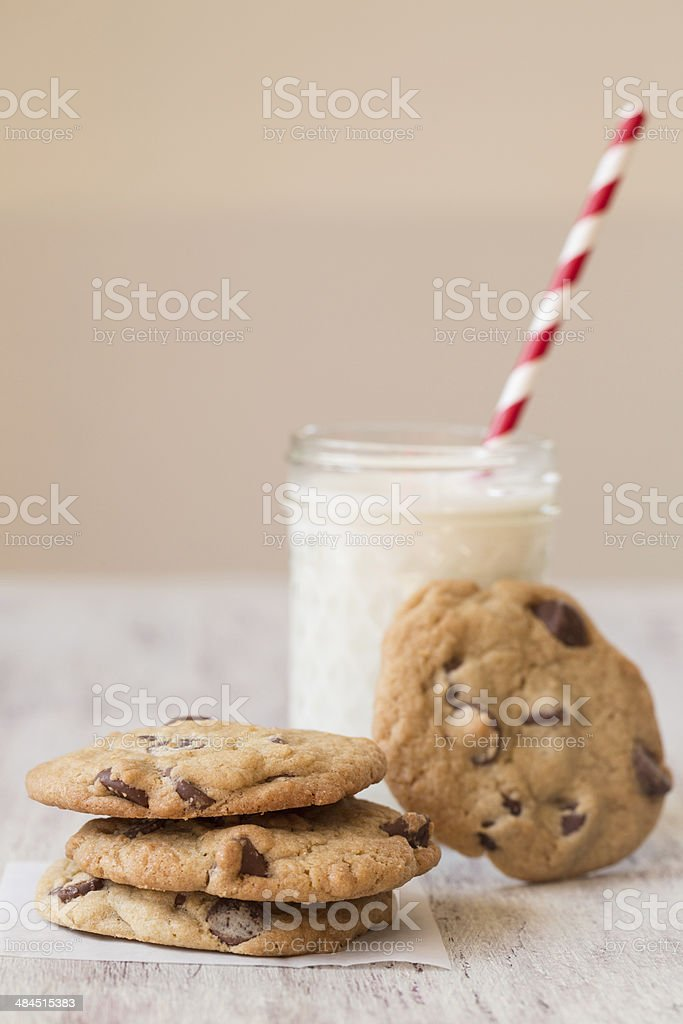 Delicious Cookies and Milk for Dessert stock photo