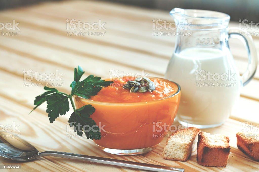 Delicious cream - pumpkin soup stock photo