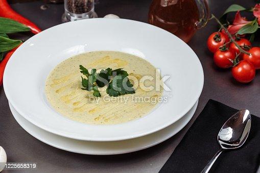 delicious cream soup of zucchini. Easy summer diet dish..