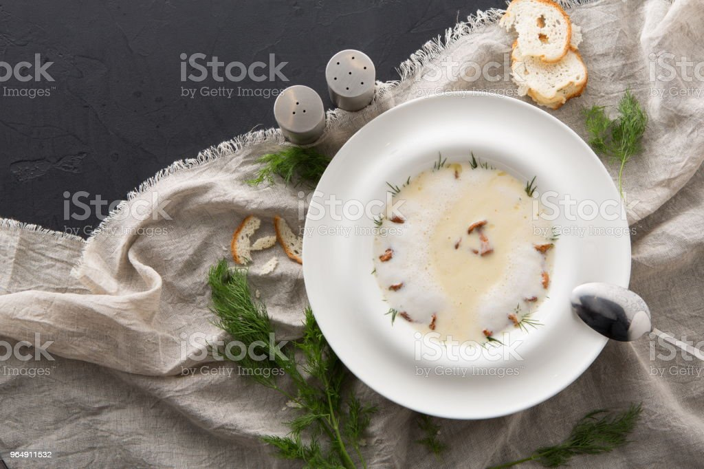 Delicious cream soup with honey fungus close up - Royalty-free Appetizer Stock Photo