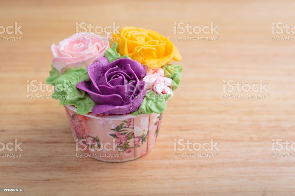 Delicious creamy cake with flowers royalty-free stock photo