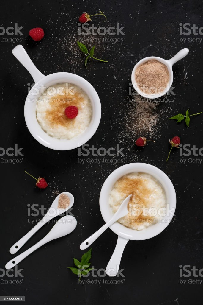 Delicious creamy rice pudding with cinnamon sugar. stock photo