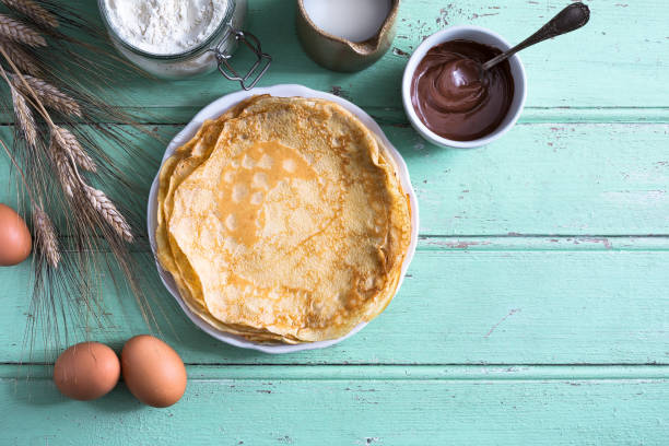 delicious crepe for chandeleur party - pancake foto e immagini stock