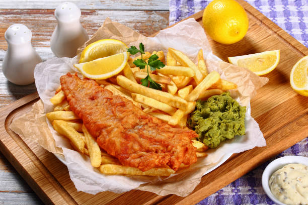 delicious crispy fish and chips on plate stock photo
