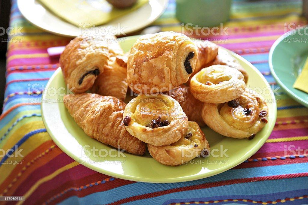 delicious croissants and vanilla loops stock photo