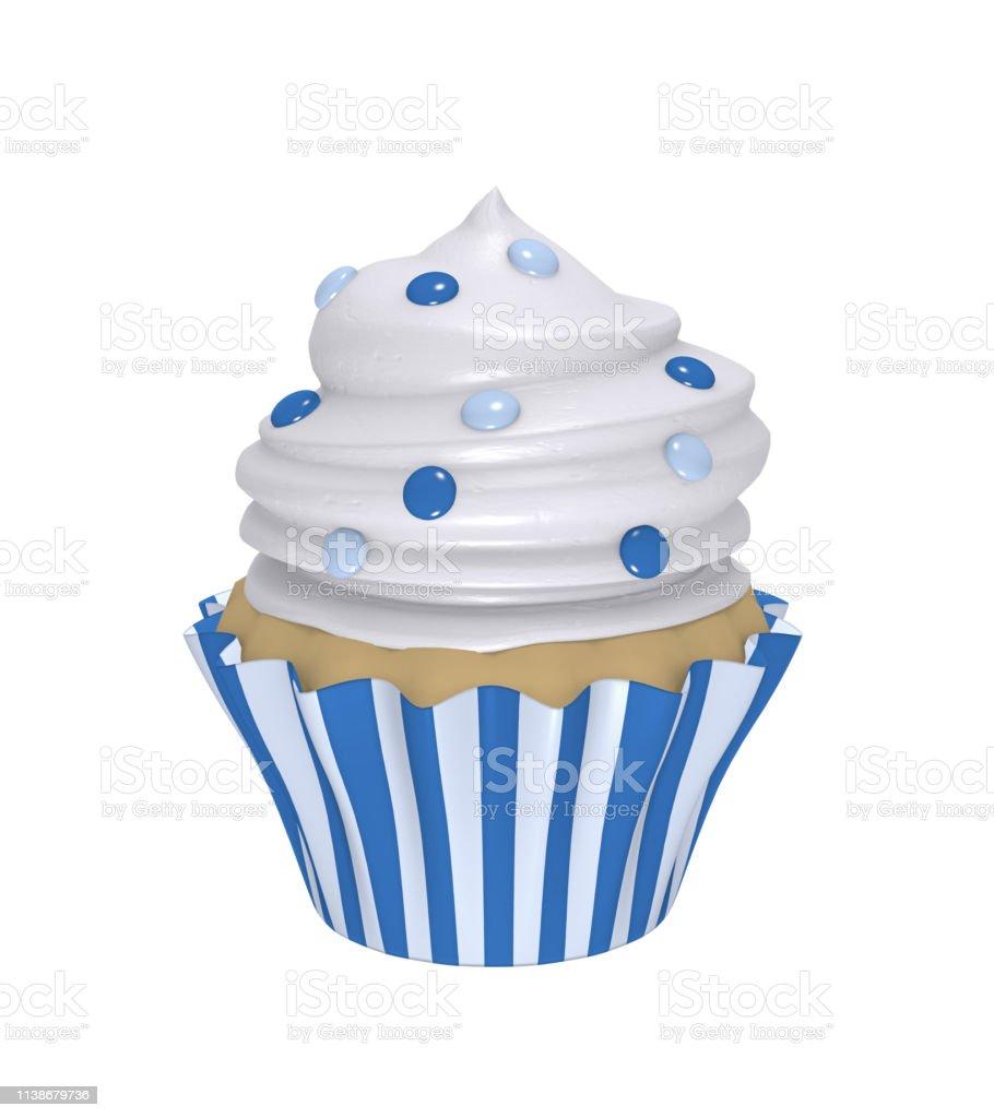 Leckerer Cupcake in blau-und weiß gestreiften Tabletts – Foto