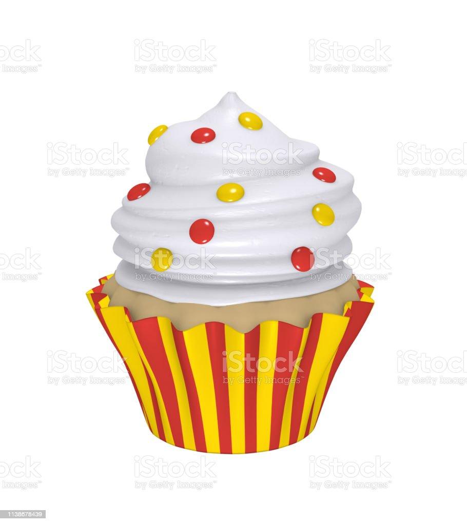 Leckerer Cupcake in rot-gelb gestreiften Formen – Foto