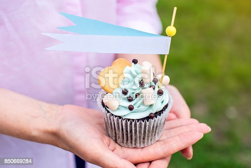 istock Delicious cupcake with blue cream and marshmallows in the hands of the girls. Sweet gift for birthday and wedding. 850669284