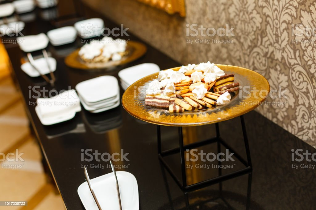 Delicious Decorated Candy Bar Sweets On Tables For Wedding Reception