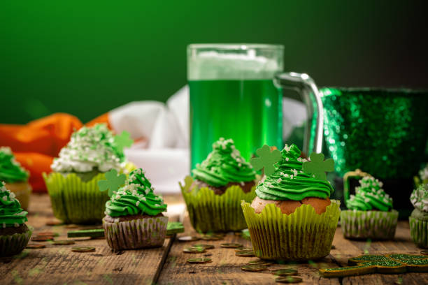 Delicious decorated cupcakes stock photo