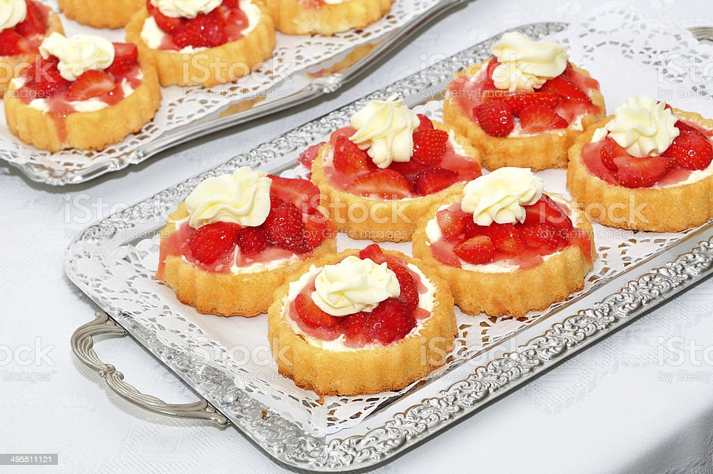 Delicious desert on silver plate. royalty-free stock photo