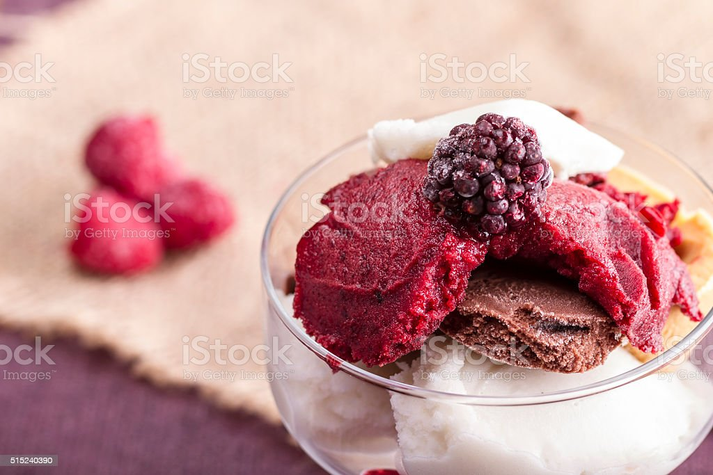 delicious dessert or ice cream, made from fresh berries stock photo