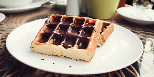 Delicious dessert Vienna Waffles Chocolate topping – Foto