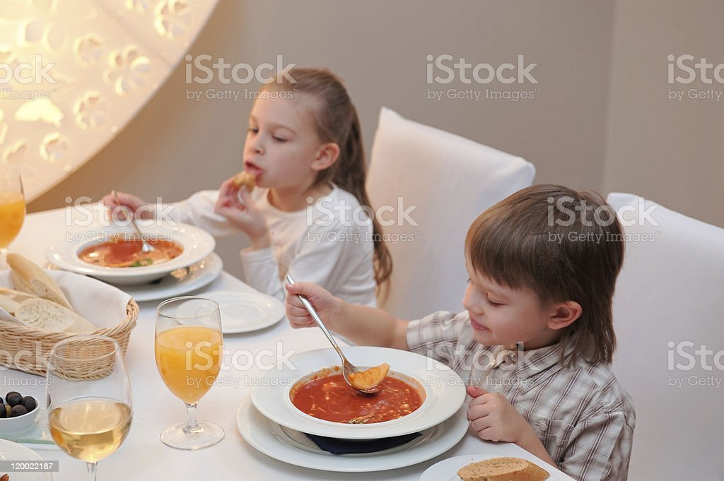 Delicious dinner in restaurant royalty-free stock photo