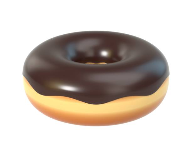 Delicious donut with chocolate icing and sprinkles stock photo