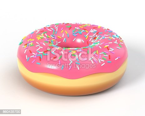 istock Delicious donut with icing and sprinkles 860435700