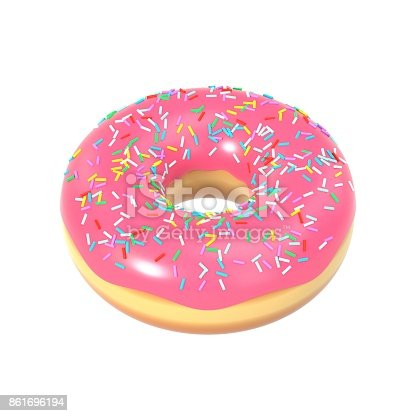 istock Delicious donut with pink icing and sprinkles 861696194