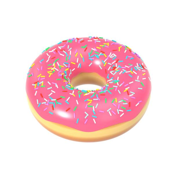 delicious donut with pink icing and sprinkles - clip art stock photos and pictures