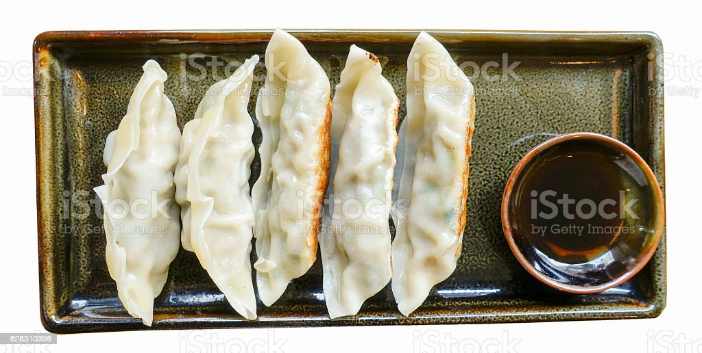 Delicious dumplings in a plate stock photo
